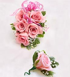 Flowers by 1800Flowers - Pink Rose Corsage & Boutonniere - Large