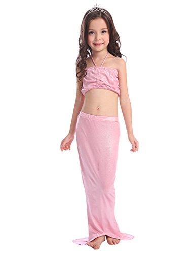 Le SSara LittleGirls'MermaidTailBikini3pezzicostume da bagnospiaggiacostumi da bagnodibalneazione (7-8 anni, C-Rosa)