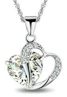 Domire Heart Shape Pendant Necklace - White