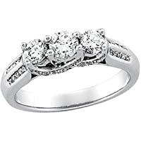 14K White Gold Three 3 Stone Diamond Bridal Engagement Ring