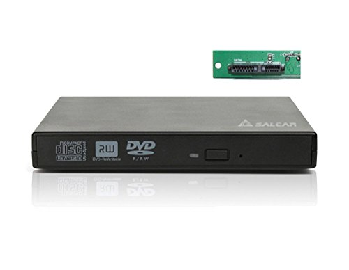 Salcar - Drive Enclosure CD / DVD / Blu-ray Masterizzatore Case USB 2.0 SATA Slim Line per hard disk da 12,7 mm (nero)