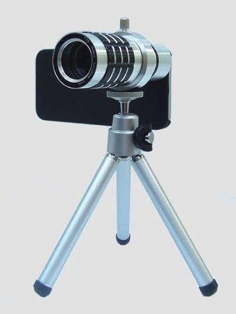 J_C_T_Y iPhone5 iPhone5S 対応 12倍望遠レンズ (単焦点) 撮影セット 【 レンズ レンズブラシ レンズキャップ 三脚 iPhone用レンズアタッチメントつきケース 三脚 クリーニングクロス 収納袋 付 「 J_C_T_Y オリジナルパッケージ 」 】 (シルバー)