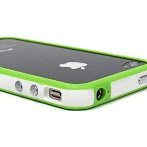 White and Green Premium Bumper Case for Apple iPhone 4 - AT&amp;T