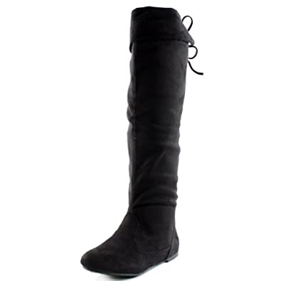 830dea0815f West Blvd Womens BANGKOK THIGH HIGH Boots Over The Knee Flat Heels Winter  Faux Suede Leather Shoes