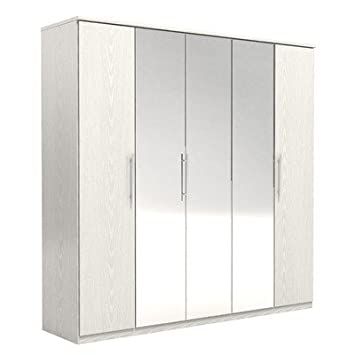 FM Bravo SP Z O.O. Stylish Paper Foil High Quality Particle Board 5 Door Robe, 203.1 x 201 x 52.5 cm, White