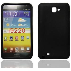 BLACK SOFT SILICONE CASE FOR SAMSUNG GALAXY NOTE / GT-N7000 / GT-I9220 - BACK RUBBER PHONE COVER + 2 SCREEN PROTECTORS