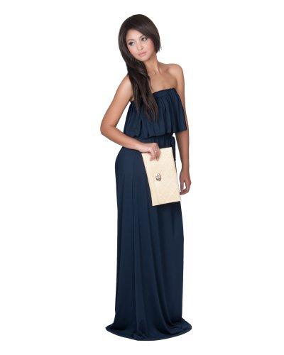 Koh Koh Women's Strapless Shoulderless Sleeveless Summer Ruffled Maxi Dress – X-Large – Navy Blue