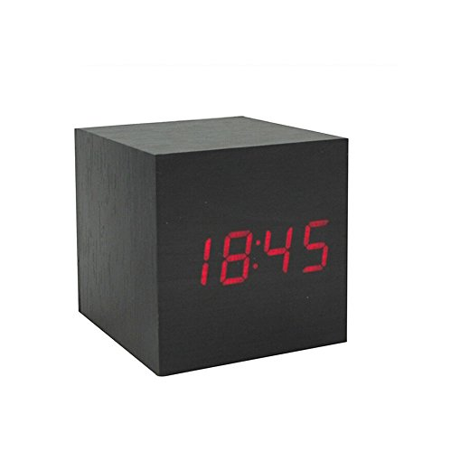Amars(Tm) Ultra-Simple Fashion Wooden Rechargeable Alarm Clock With Usb Large Display With Temperature Date Sound Control Cube Shape 9504