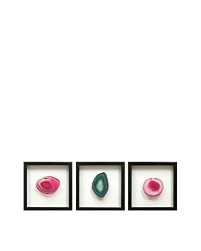 Set of 3 Black Floating Frames with Geodes, Pink/Teal/Pink