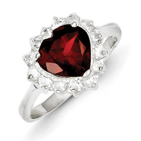 Genuine IceCarats Designer Jewelry Gift Sterling Silver Garnet Ring Size 7.00