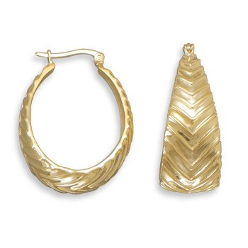Sterling Silver 14 Karat Gold Plated Hoops with