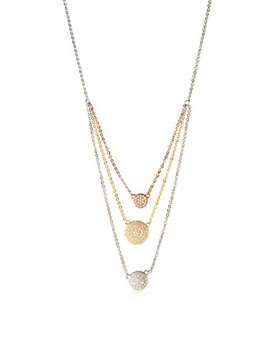 Jardin 2 cttw Pave CZ Discs Triple Cascade On 16 Plus 2 Pendant Necklace