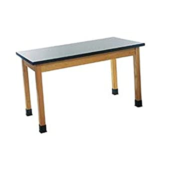 "Diversified Woodcrafts P7106K30N UV Finish Solid Oak Wood Table with Plain Apron and Epoxy Resin Top, 48"" Width x 30"" Height x 24"" Depth, 500lbs Capacity"