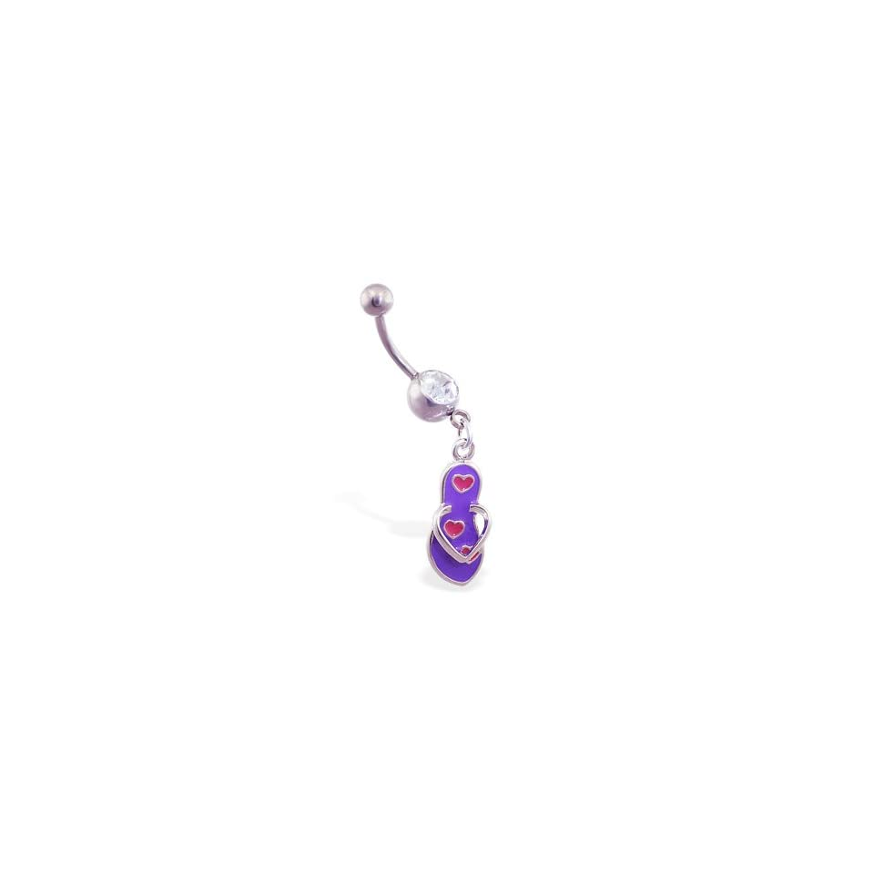 Jeweled belly ring with dangling purple flipflop with hearts