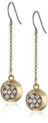 "Kensie ""Frozen"" Gold-Plated Circle Pave Drop Earrings"