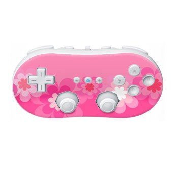 Nintendo Wii Controller Skin- Retro Flowers Pink