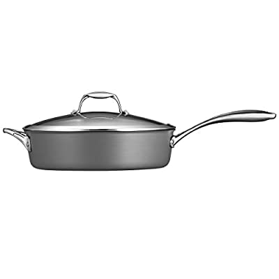 Tramontina 80123/014DS Gourmet Heavy-Gauge Aluminum Nonstick Covered Deep Saute Pan, 5.5-Quart, Hard Anodized