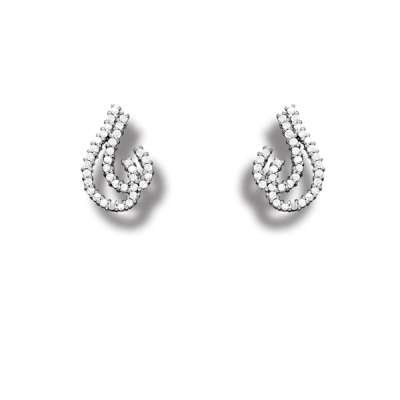 925 Sterling Silver Radiant Button Earrings with CZ Double Question Mark Shaped Design(WoW !With Purchase Over $50 Receive A Marcrame Bracelet Free)