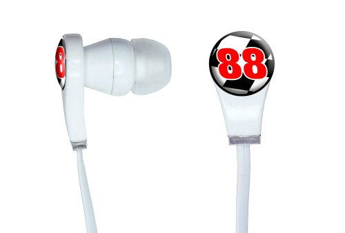 Graphics And More Number 88 Checkered Flag - Racing Novelty In-Ear Headphones Earbuds - Non-Retail Packaging - White