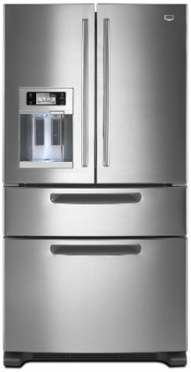 25 cu. ft. Ice2O Easy Access Refrigerator with Easy Access Drawer Energy-saving Design Color LCD Touch Screen Right Size Ice Cubes and LED Interior Lighting Stainless