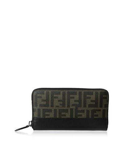 Fendi Men's Zucca Continental Travel Wallet, Tobacco/Black