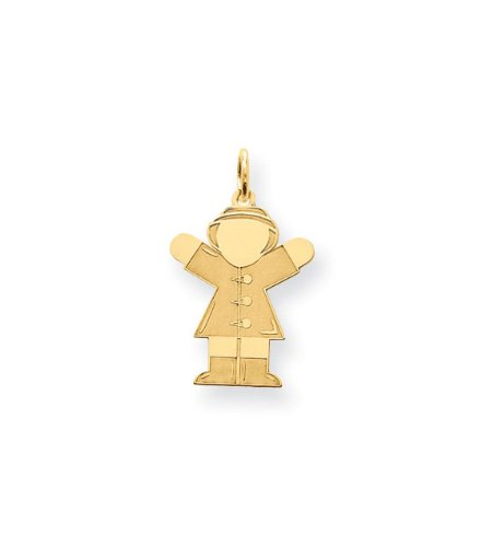 24k Gold Plated Girls Rain Coat Hat Boots Pendant Charm