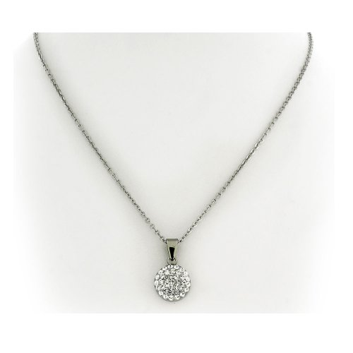 White Crystal Silver Tone Stainless Steel Round Pendant with Chain