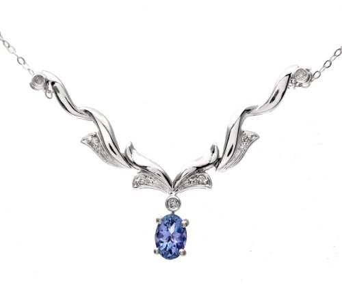 9ct White Gold Tanzanite and Diamond Wave Necklace