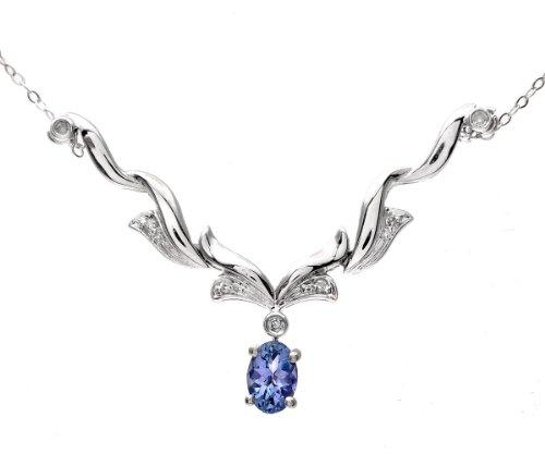 9ct White Gold Tanzanite and Diamond Wave Necklace