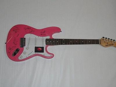 Fifth Harmony Signed Pink Electric Strat Guitar Ally Normani All 5 Jsa