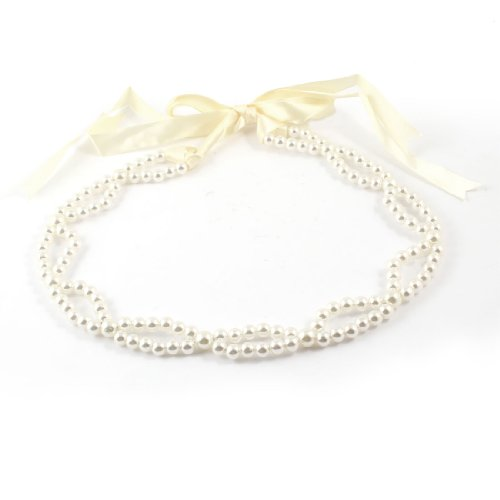 Lady Wonan White Faux Pearl Chain Self Tie Waist Belt