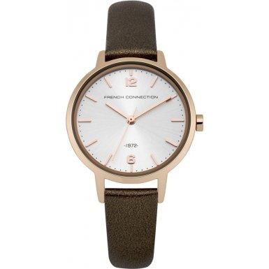French Connection Reloj de cuarzo para mujer con blanco esfera analógica pantalla y correa de piel color marrón fc1280trg