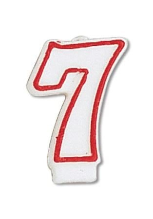Red Outline Numeral Candle Number 7 6 Ct - 1