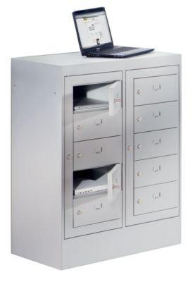 Armoire pour ordinateurs portables - 10 compartiments, h x l 1115 x 782 mm gris clair - Armoire pour ordinateurs portables Armoires pour ordinateurs portables