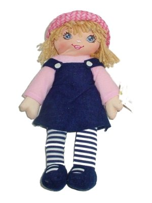 Rag Doll In Black Jumper With Pink Shirt Blond 12 Inches Tall