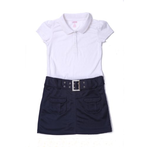French Toast School Uniforms Belted Polo Dress Girls Navy 6X front-924165