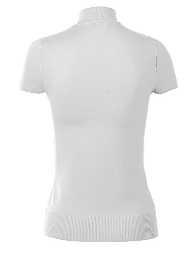 MBJ WSK820 Womens Short Sleeve Mock Turtleneck Pullover Sweater S WHITE