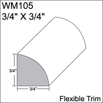Flexible Moulding - Flexible Quarter Round Moulding - WM105 - 3/4