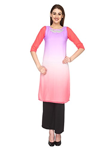 Fashion205 Pink And Purple Shaded Georgette With Hand Embroidery Long Kurti