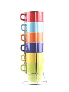 Francois et Mimi 6 Piece Large-Sized Stacking Mug Set with Metal Stand, 14oz (Solid)