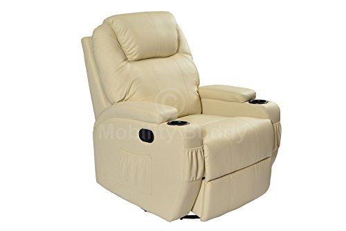 Cinema Lounge 9 In 1 Cream Real Bonded Leather Manual Rock Swivel Recliner Armchair With Heat And Massage