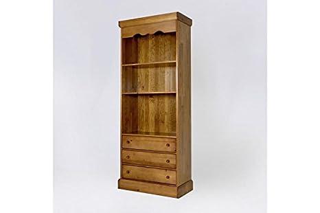ABC MEUBLES - Libreria scaffale ampio legno 3 cassetti - 11.303 - Miel