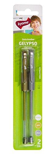 kyome Gelypso - Bolígrafo de tinta de gel (almohadilla ergonómica, 5 paquetes de 2 bolígrafos), color dorado y plateado