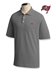 Tampa Bay Buccaneers Mens Ace 100% Cotton Polo Grey Heather by Cutter & Buck