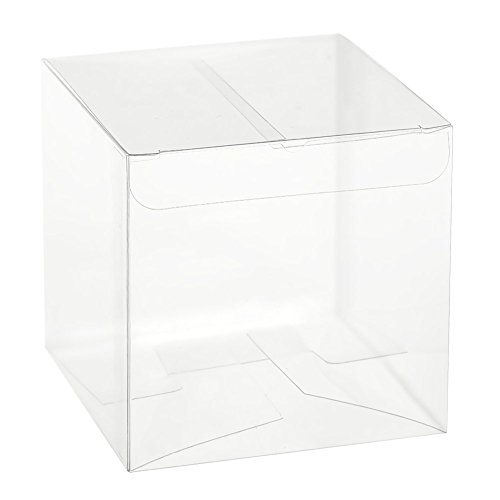 Ling's moment 50 PCS Clear Favor Boxes 3x3x3 Inch for Cupcake Wedding Party Favors (Plastic Display Box Square compare prices)