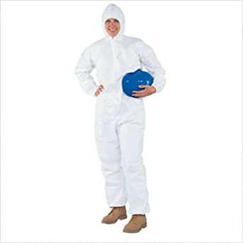 Kimberly-Clark KleenGuard SMS Fabric A30 Breathable Splash and Particle Protection Coverall with Zipper Front, 2X-Large, White 46125 (Case of 25)