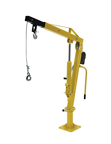 """Vestil Wtj-2 Winch Operated Truck Jib Crane, Welded Steel, 1000 Lbs Retracted Capacity, 56"""" Overall Height, Yellow"""