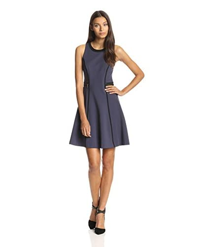 Rebecca Taylor Women's Faux Leather Trim Ponte Fit and Flare Dress
