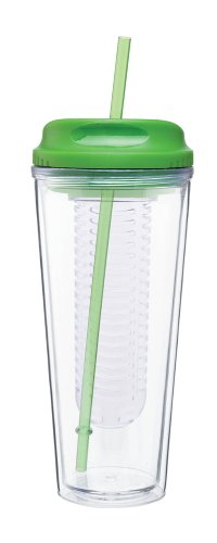 Infusion To Go - Hot Cold Drink Fruit Infuser Tumbler - Double Wall Acrylic -20Oz. Capacity - Apple