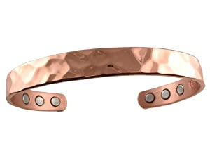 Copper Magnetic Bracelet Hammer Style 6 High Power Therapy Magnets - Small